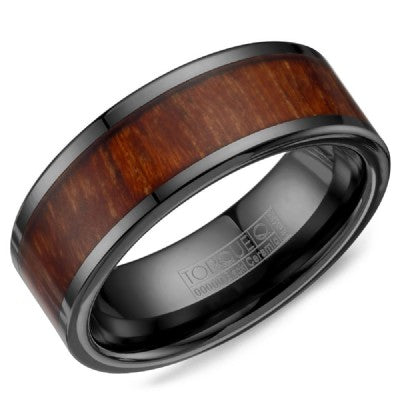Black Ceramic Ring With Wood Pattern Inlay