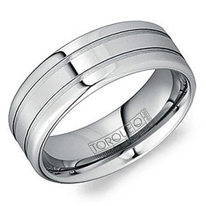 8mm Wide Tungsten Carbide Ring With Brushed Grooves And High Polished Edges