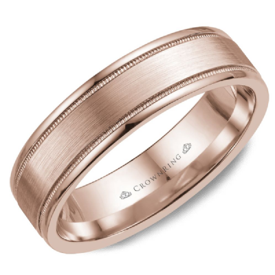 Classic 6mm Wedding Band With Sandpaper Finish And Milgrain Edges