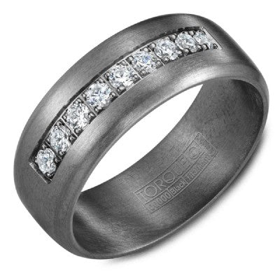 8mm Wide Tantalum Ring With Sandpaper Finish And Diamonds