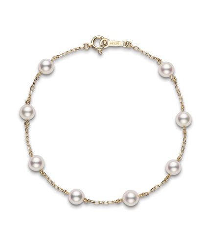Mikimoto Akoya Cultured Pearl Station Bracelet in Yellow Gold