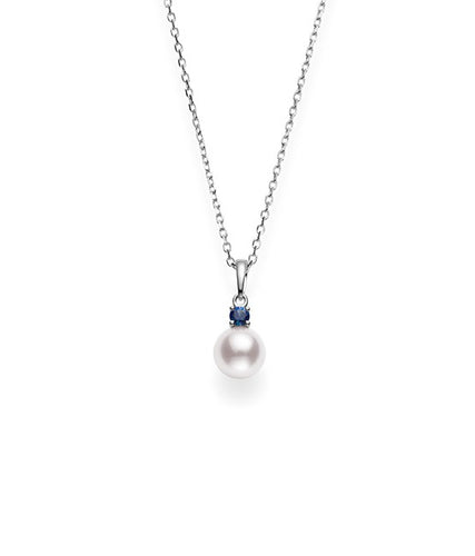 Mikimoto Akoya Cultured Pearl And Sapphire Pendant