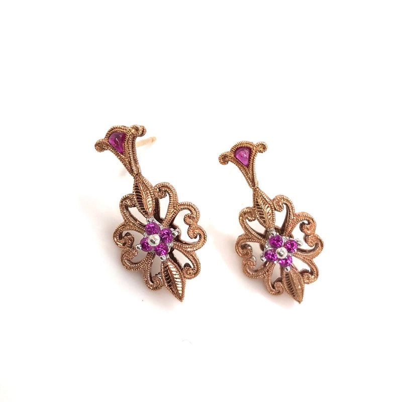 Ornate Rose Gold and Pink Sapphire Dangle Earrings