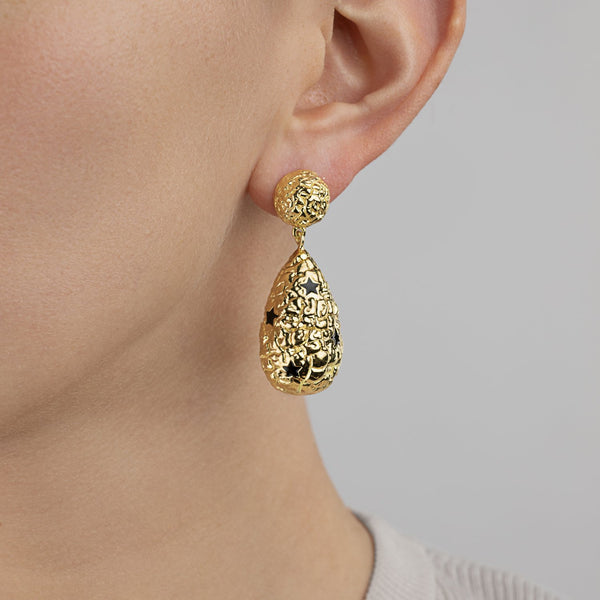 Gold drop earrings with stars