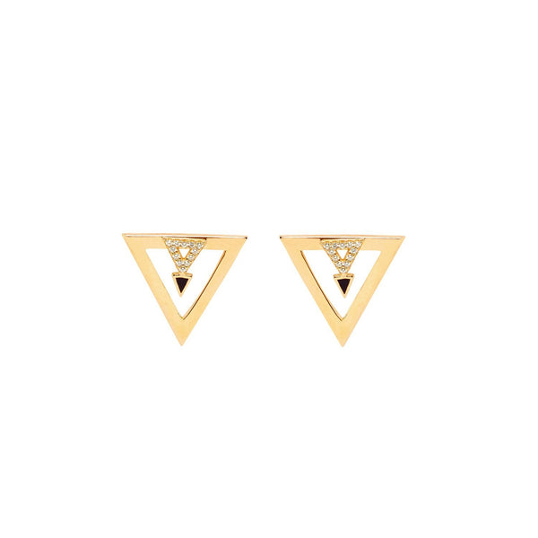 Find out triangle  Earrings with Black Enamel and crystal stones | ESHVI