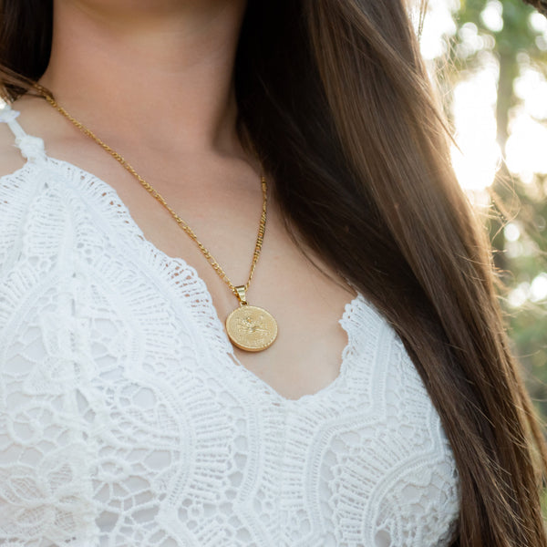 Zodiac Medallion Necklace - Krave Jewelry Co - Bracelets Necklaces Earrings