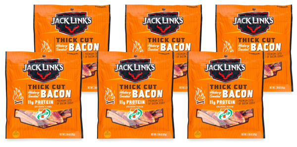 7-Select Jack Link's Thick Cut Hickory Smoked Bacon Jerky 2.85 Oz/Pack, 6 Packs