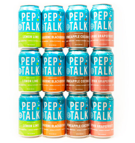 Pep Talk Lightly Caffeinated Sparkling Water, Variety, 12 fl oz. cans (12 Pack)