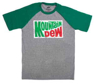 Mountain Dew Shirt- Distressed Mt Dew Logo T-Shirt (Graphite/Green) from 7-Eleven