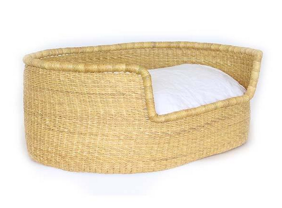 Woven Bolga Dog Bed, Natural