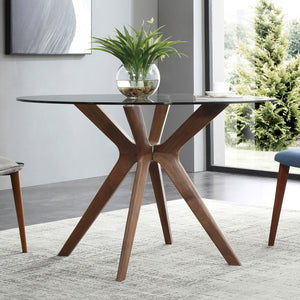 Branch   Round Glass Table With Wood Legs