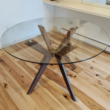 Load image into Gallery viewer, Branch - Round Glass Table with Wood Legs