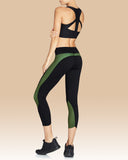 Whitney Crop Legging, Black with Olive