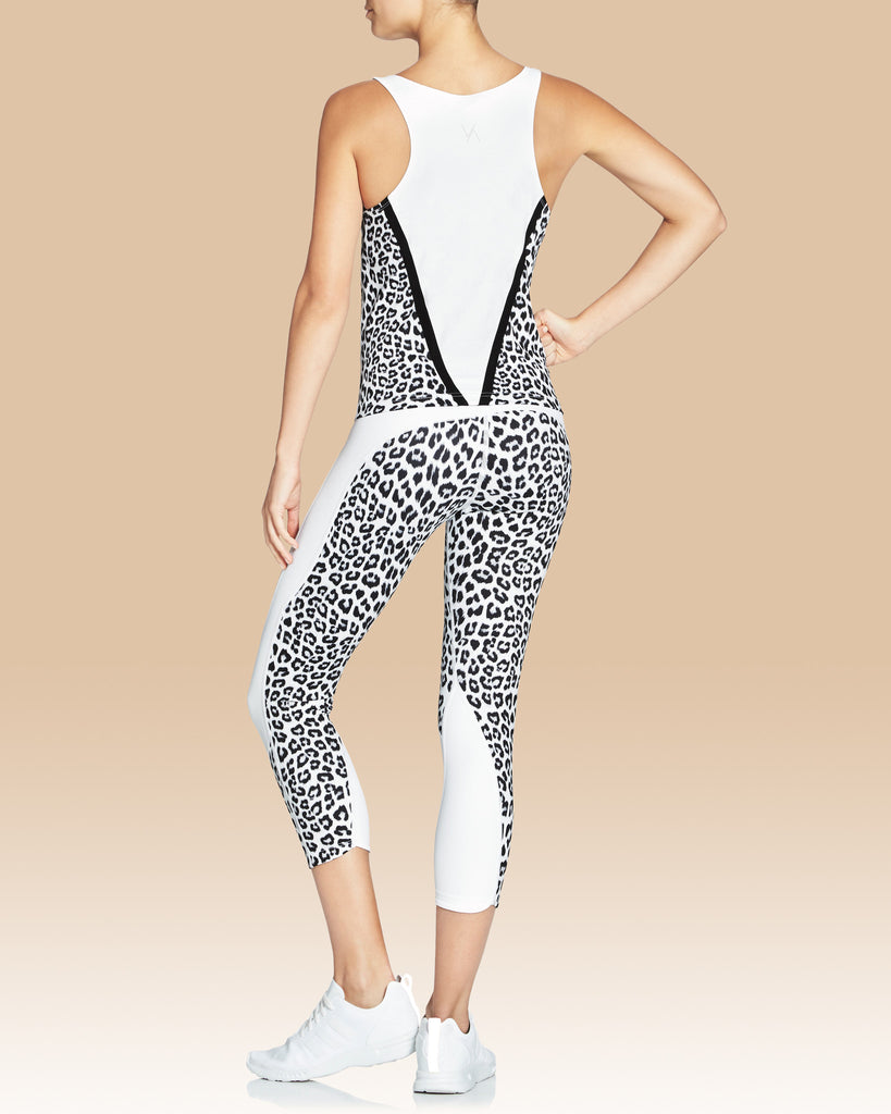 Cassy High Neck Tank, White Leopard with Black V