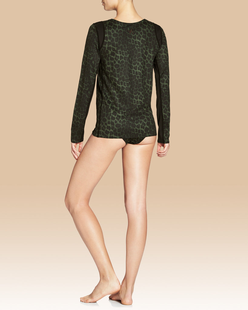 Mandy Long Sleeve Rashguard, Olive Leopard with Black