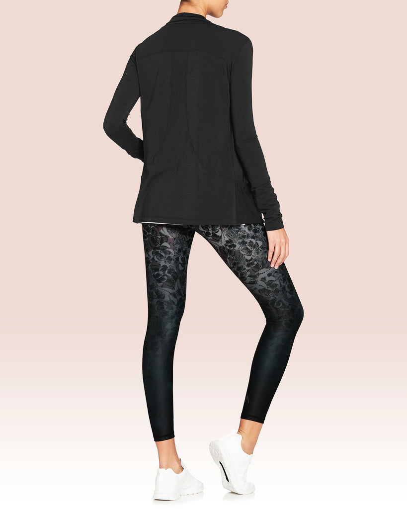 Rockell Full Length Leggings, Black Monochrome Butterfly