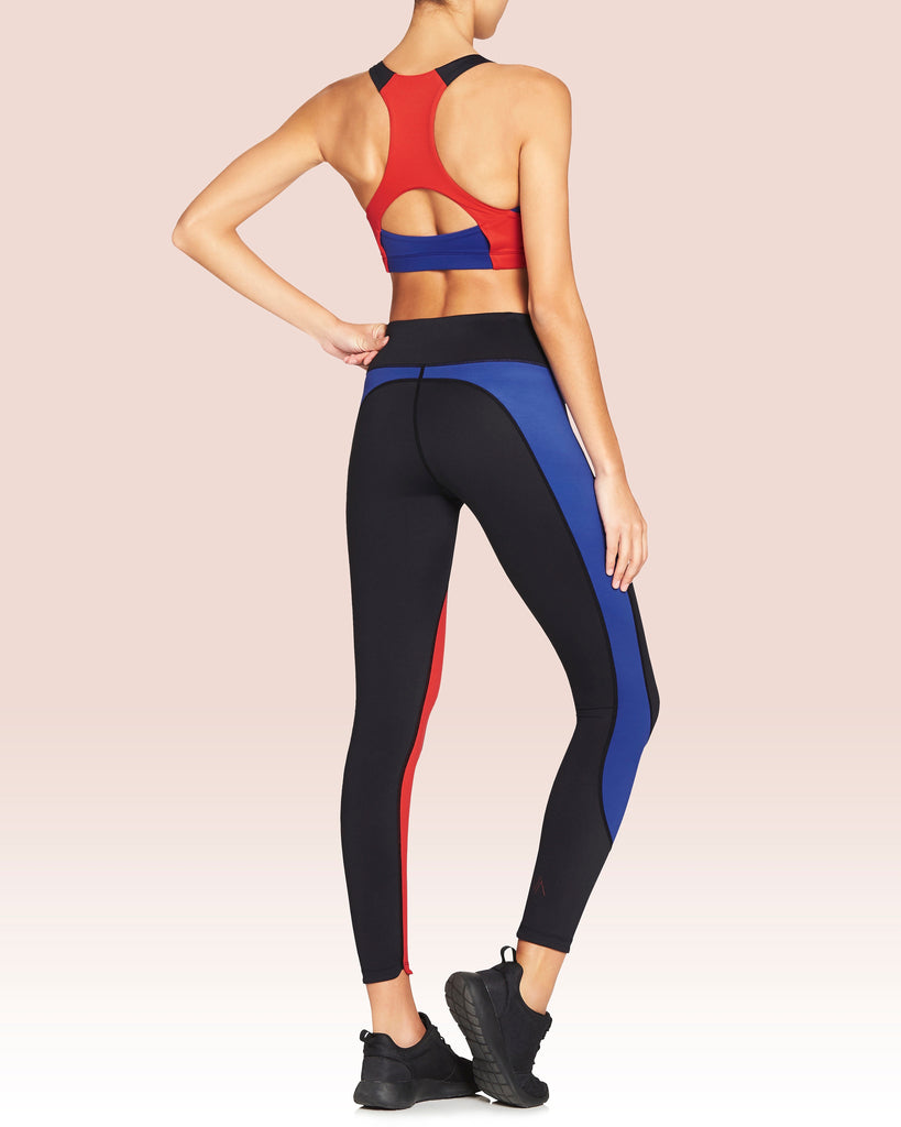 Whitney Wraparound Panel 7/8 Leggings, Black With Fire And Blue Ice