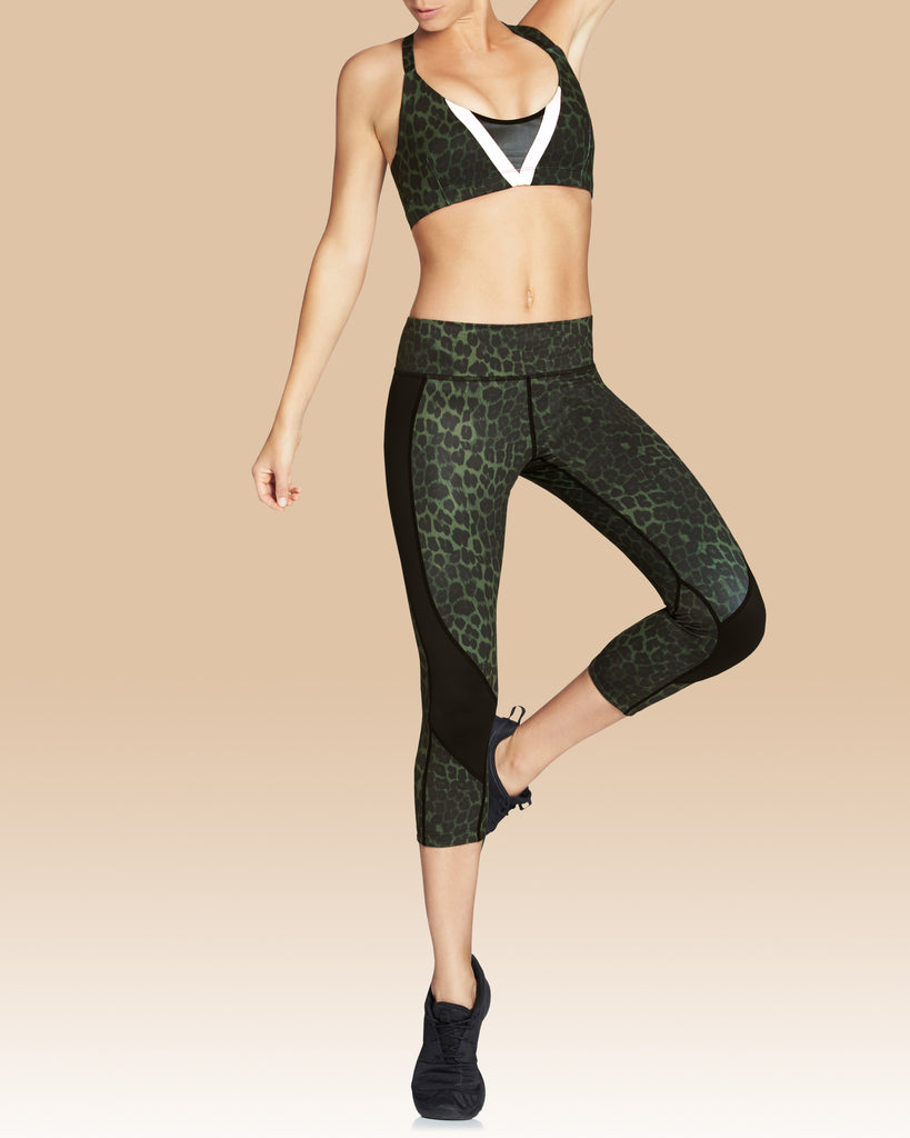 Whitney Crop Legging, Olive Leopard with Black