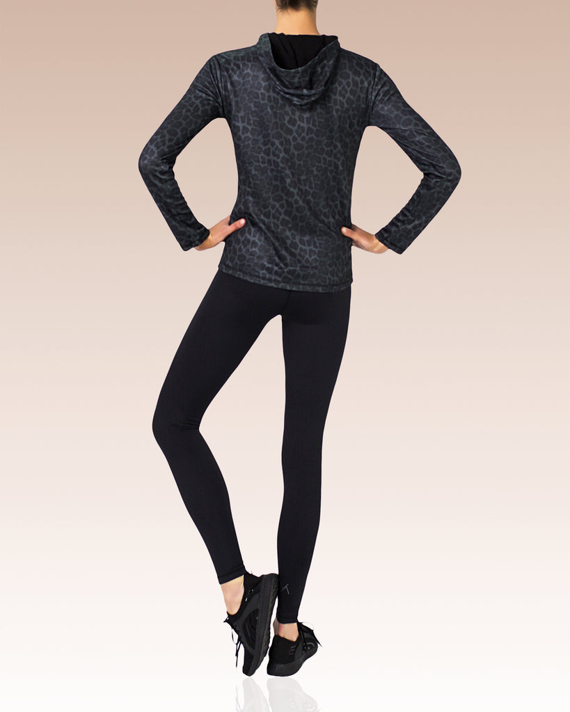 Libby Technical Running Hoodie, Charcoal Leopard
