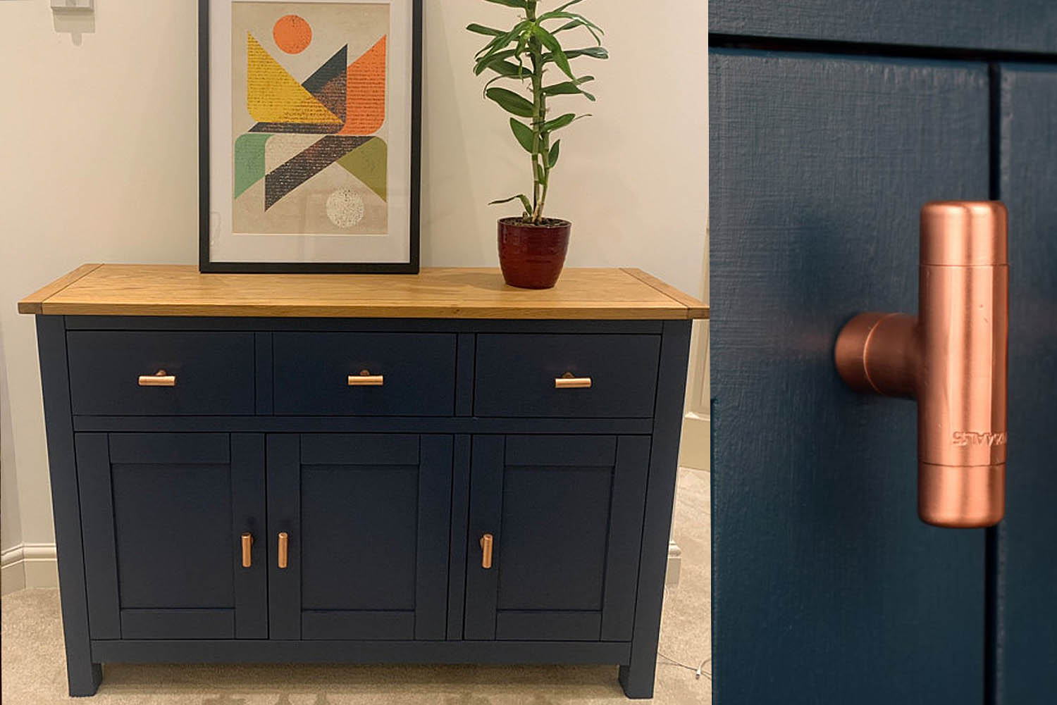 Customers Blue dresser with copper knobs