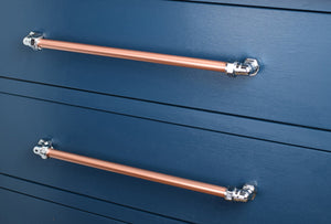 Our copper and chrome handle collections and kitchen hardware which are all hand-crafted in our Brighton workshop, UK