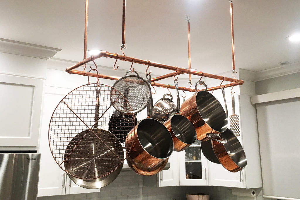 Proper Copper Design Customer Photo of Hanging Kitchen Pot and Pan Rack