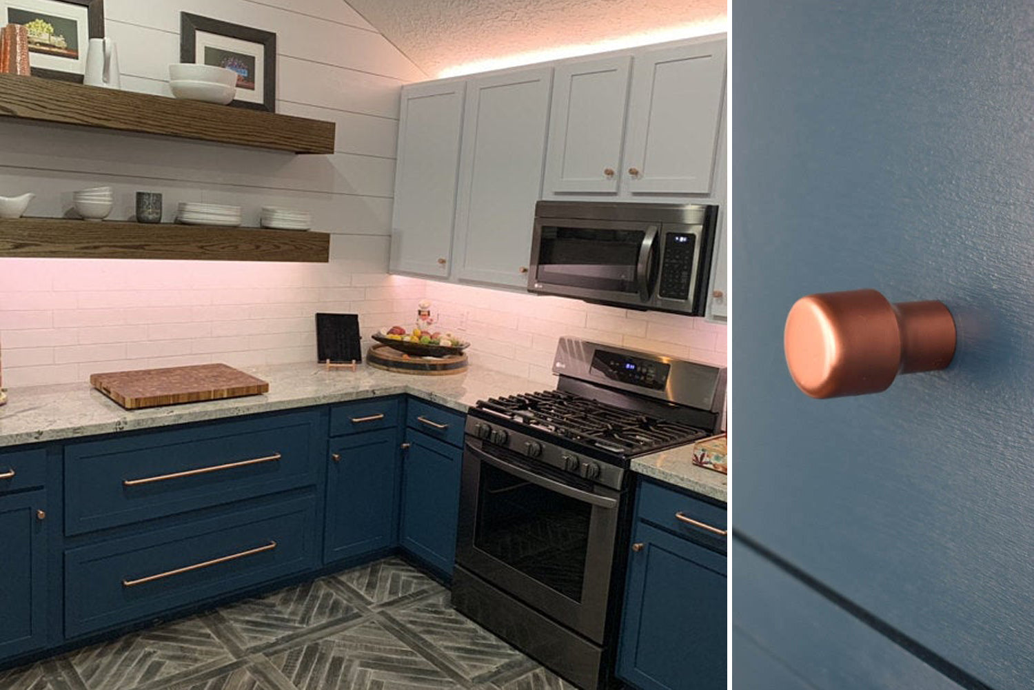 Blue cabinets and copper pulls and knobs