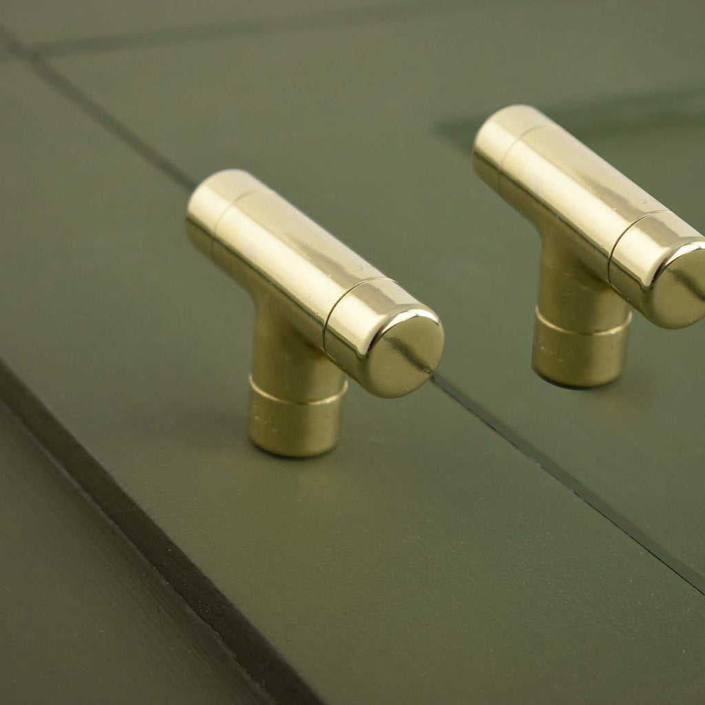 polished brass t pull