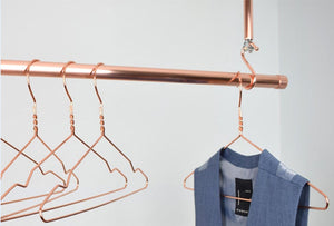 Copper clothing rail and many more designs here in our bedroom storage collection