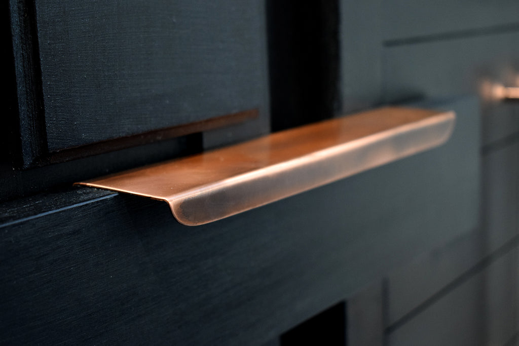 Kitchen cabinet bespoke copper handles and pulls