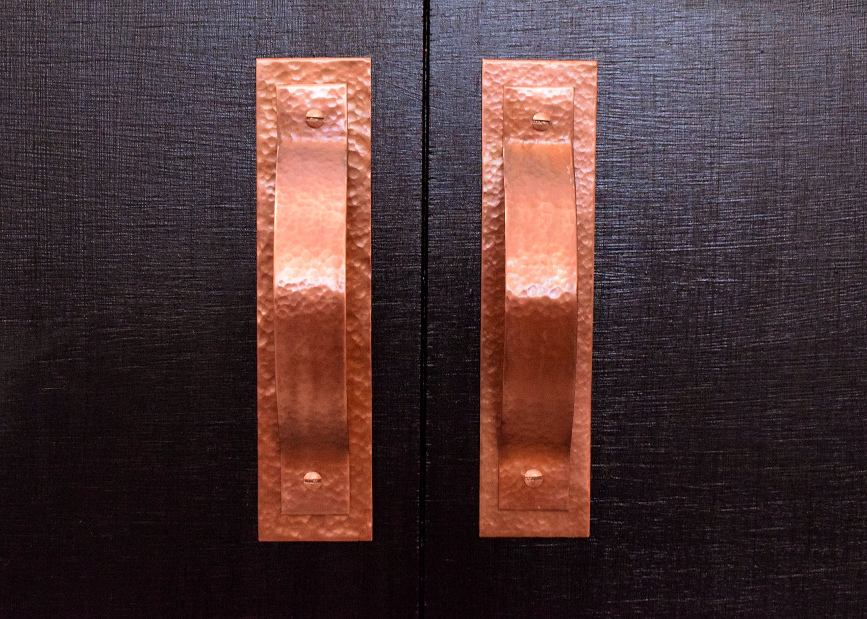 hammered copper handles and pulls
