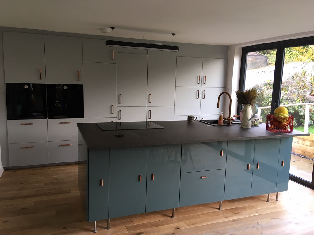 kitchen with copper handles