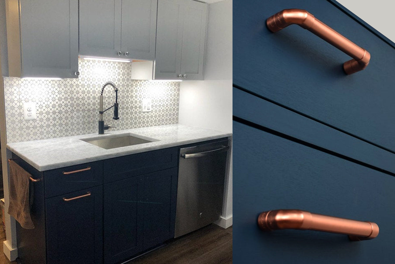 marble and blue kitchen basin unit with copper handles