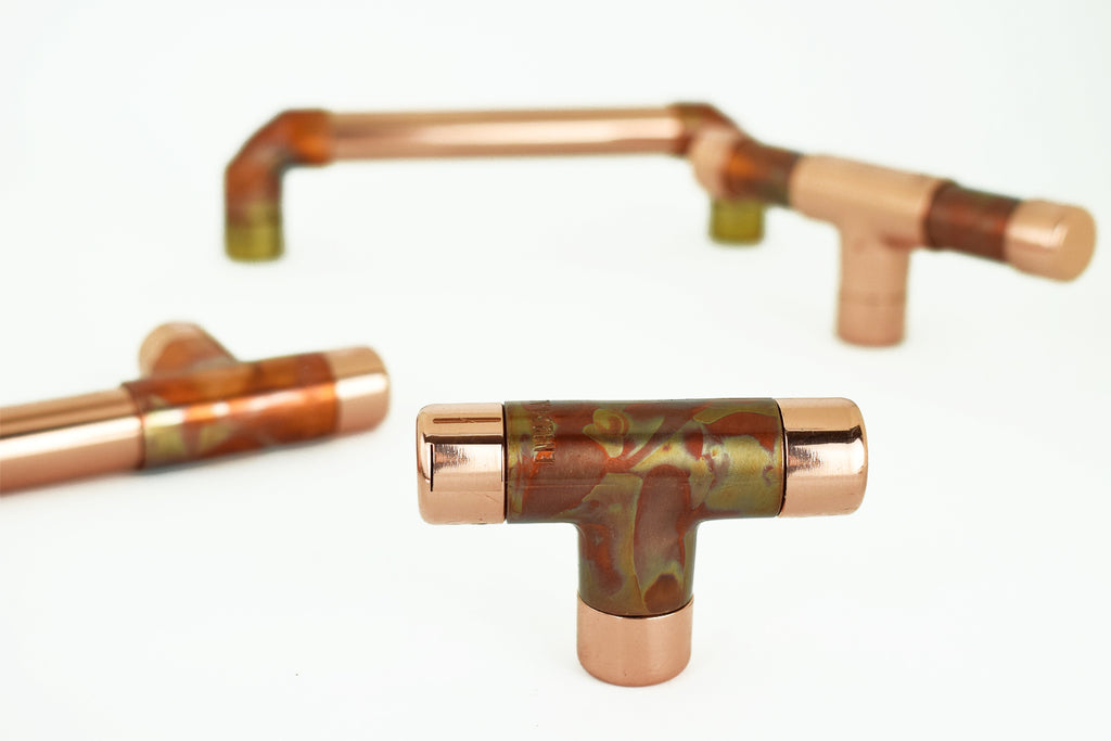 Proper Copper Design Specialist Finish Marble Copper T Knobs, Handles and Pulls
