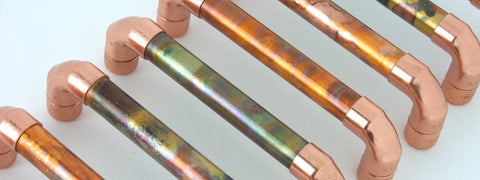 marbled copper handles, pulls and  knobs - cabinet furniture, drawer handles, door handles, copper pulls handles