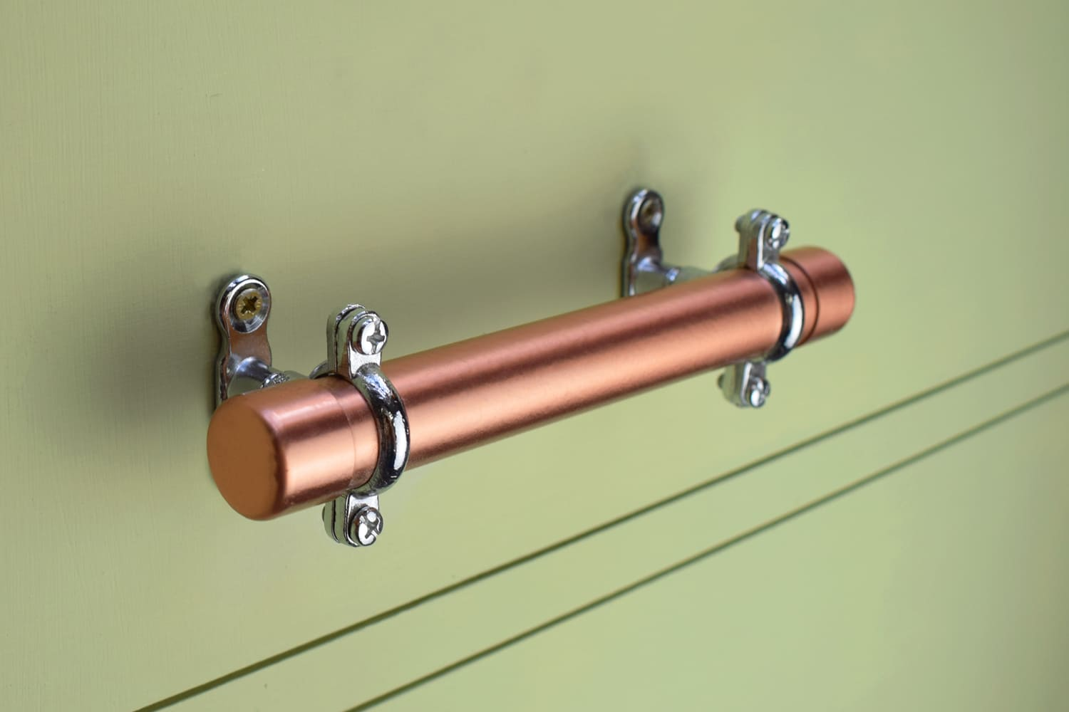 Proper Copper Design - Bar Pull Handle - Copper Handle with Brackets - Copper Bracket Handles
