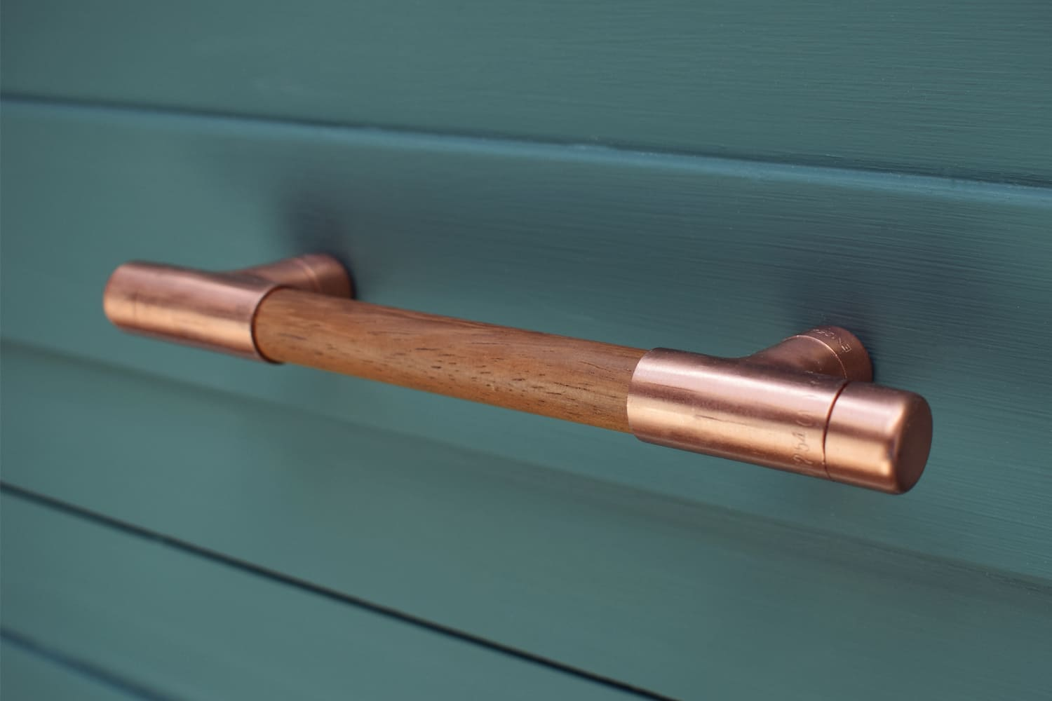 Proper Copper Design - Copper Sapele Wood and Copper Pull Handle Cabinet Furniture - Drawers - Handles - Knobs and Pulls