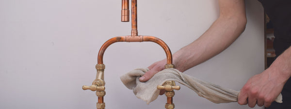 Cleaning a marbled copper tap