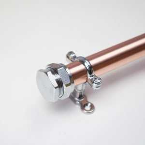 Curtain Rail in Copper and Chrome - Proper Copper Design
