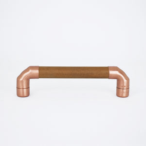 copper and sapele pull handle minimal industrial rustic