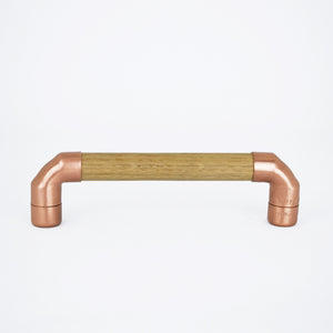 Copper Pull Handle with Oak T-shaped - Proper Copper Design