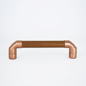 copper and iroko pull handle minimal warm industrial rustic
