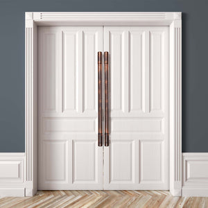 double doors with aged handles
