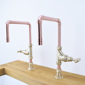 Caspian Twin Copper Taps, Proper Copper Design, Copper Mixer Tap, Handcrafted Tap, Copper and Brass tap