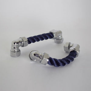 Chrome Rope Pull - Navy - Proper Copper Design