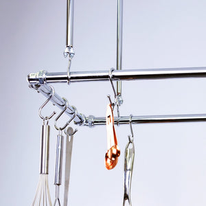 Chrome Ceiling Pot and Pan Rack - Proper Copper Design