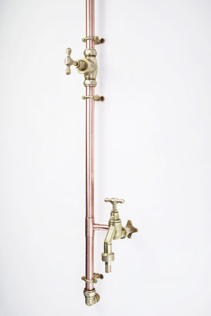 Proper Copper Design - Outdoor Copper Shower with Garden Tap for Hose Single Inlet Rainfall Shower Head