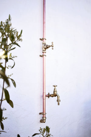 Copper Outdoor Shower with Garden Tap - Evros - Proper Copper Design