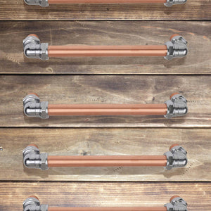 chrome_copper_bran_door_pull_handle_chrome_bolts_chunky_door_pull_wood