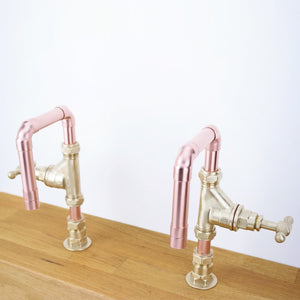 mini tap-caspian tap-twin tap-hot and cold-copper-copper tap-bespoke design-tap design